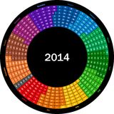 Round calendar 2014. This image is a vector illustration and can be scaled to any size without loss of resolution, can be variated and used for different stock illustration