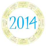 Round calendar 2014 Stock Images