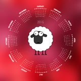 Round calendar 2015 with sheep on red background. Week starts on Sunday Stock Photo