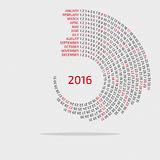 2016 round calendar - template. For web and print use stock illustration