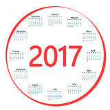 Round the calendar in 2017. Royalty Free Stock Image