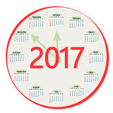 Round the calendar in 2017. Stock Photography