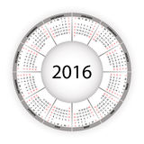 Round calendar for 2016 year. Vector EPS10 royalty free illustration