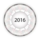 Round calendar for 2016 year. Stock Photos