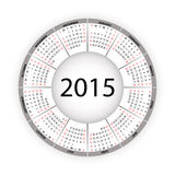 Round calendar for 2015 year. Royalty Free Stock Photography