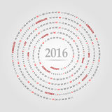 Round calendar for 2016 year. Week Starts Sunday. Stock Images