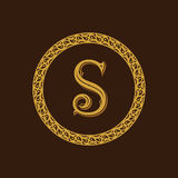 Round calligraphic emblem. Vector floral symbol for cafe Stock Images