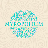 Round calligraphic emblem. Vector floral symbol for cafe Royalty Free Stock Photo