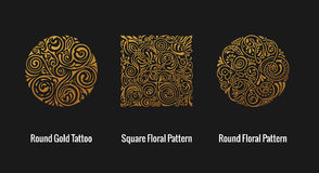 Round calligraphic emblem. Vector floral symbol for cafe Stock Photography