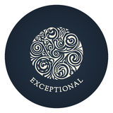 Round calligraphic emblem. Vector floral symbol for cafe Royalty Free Stock Photos