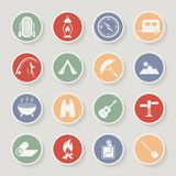 Round camping icons set. Vector icons Stock Photography