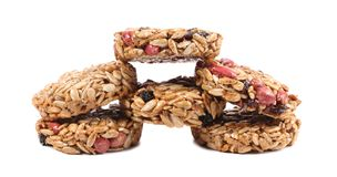 Round candied seeds and nuts. stock images