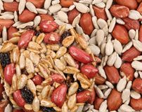 Round candied seeds with peanuts. royalty free stock photography