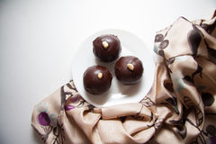 Round candies made of chocolate Stock Photography