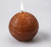 Round candle. This is a photo of a scented candle is burning Stock Photo