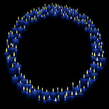 Round candle frame. Blue  candles for a circular border Royalty Free Stock Photos