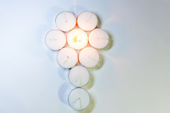 Round Candle lights arranged. Round Tea Candle lights arranged. Christmas lighting Royalty Free Stock Photos