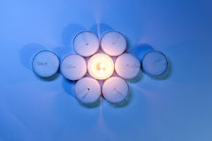 Round Candle lights arranged. Round Tea Candle lights arranged. Christmas lighting Royalty Free Stock Images