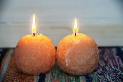 Round candles burn stock photo
