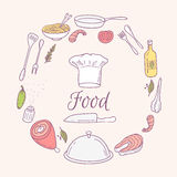 Round card with doodle food icons. Hand drawn Stock Image