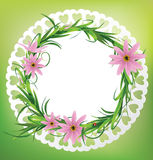 Round card with flowers, grass and  ladybug. Vector illustration Stock Photos