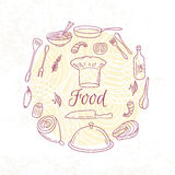 Round card with outline food icons. Doodle