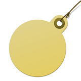 Round cardboard tag with cord. Blank round cardboard tag with cord Stock Photo