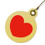 Round cardboard tag with heart Royalty Free Stock Image