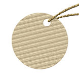 Round cardboard tag with rope. Royalty Free Stock Image