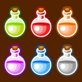 Round cartoon bottles liquids. Colors elemetns symbols royalty free illustration