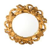 Round Carved Wood Gilded Wall Mirror. Isolated on white background royalty free stock photography