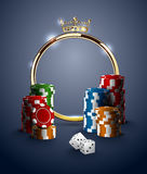 Round casino roulette golden frame with crown, stack of poker chips and white dice on deep blue background Royalty Free Stock Photo