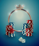 Round casino roulette golden frame with crown, stack of poker chips and white dice on deep turquoise background Royalty Free Stock Images