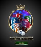 Round casino roulette golden frame window with crown, stack of poker chips and white dice on bright bokeh background. Gambling. Online club vintage vector Stock Photo