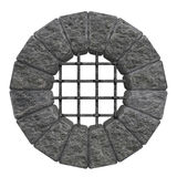 Round castle window. A round window with a stone frame like those found in ancient castles. Isolated on white background vector illustration