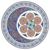 Round Celtic Design. Celtic mandala, celtic horned moon Royalty Free Stock Photos