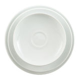Round ceramic white plate stack isolated Royalty Free Stock Photo