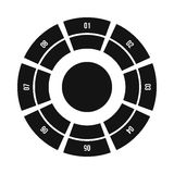 Round chart icon, flat style. Round chart icon in simple style  on white background Stock Photography