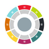 Round chart icon, flat style. Round chart icon in flat style on a white background Stock Photos