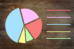 Round chart with sectors on wooden background Stock Photos