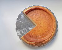 Cake Slice. Round Cheese Cake Without One Missing Slice stock photos