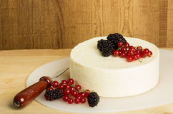 Round of cheese with currants and berries Stock Image