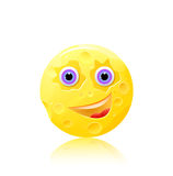 Round cheese with eyes and smile icon Stock Photo