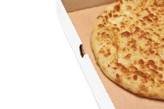 Round Cheese Pie Or  Pizza In White Carboard Box, Isolated Stock Image