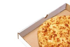 Round Cheese Pie Or  Pizza In White Carboard Box, Isolated Stock Photography
