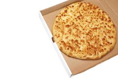 Round Cheese Pie Or  Pizza In White Carboard Box, Isolated Royalty Free Stock Images