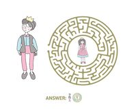 Children`s maze with Prince and Princess. Puzzle game for kids, vector labyrinth illustration. Round children`s maze with Prince and Princess. Cute puzzle game Royalty Free Stock Images