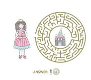 Children`s maze with Princess and fairytale castle. Puzzle game for kids, vector labyrinth illustration. Round children`s maze with Princess and fairytale Royalty Free Stock Image