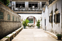 Round chinese door. In village. it's amazing Stock Images