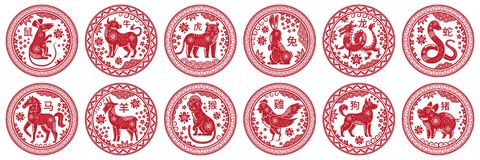 Free Round Chinese Zodiac Signs. Circle Stamps With Animal Of Year, China New Year Mascot Symbols Vector Set Royalty Free Stock Photo - 166407315